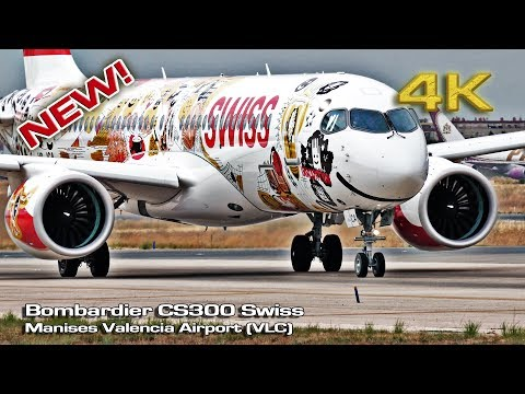 Bombardier CS300 Swiss first time at Valencia! (Close view) [4K]