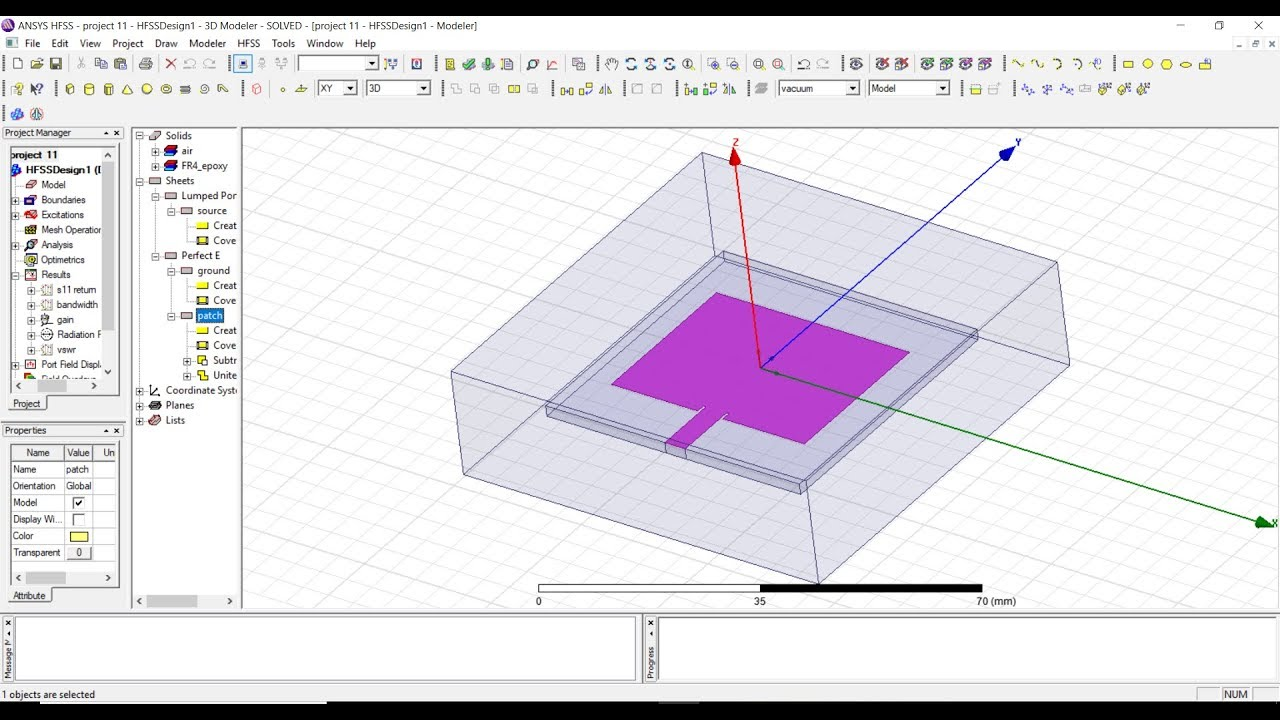 steps to design microstrip patch antenna in hfss