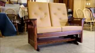 Bow Arm Slat Loveseat Glider