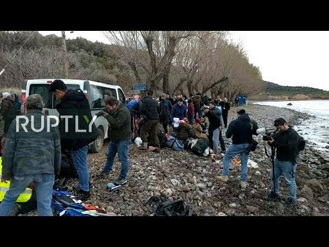 LIVE: Refugees from Turkey arrive by boat on Lesbos
