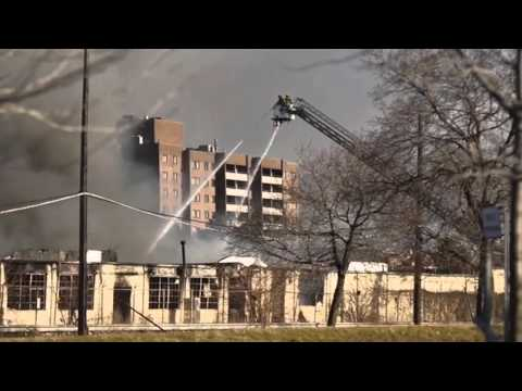 Mich. firefighters battling massive warehouse fire