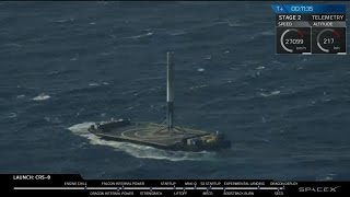 SpaceX Falcon 9 lands rocket successfully on droneship in the Atlantic Ocean