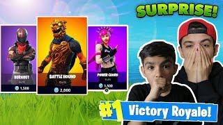 Surprising Little Brother With New Fortnite Skins! 20V20 With 10 Year Old Little Brother!