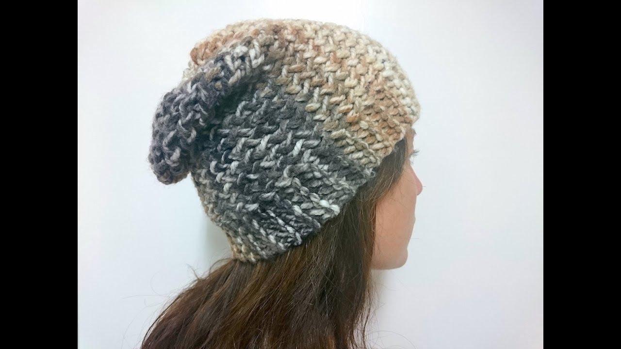 Sideways Loom Knitted Slouchy Beanie Tutorial - YouTube