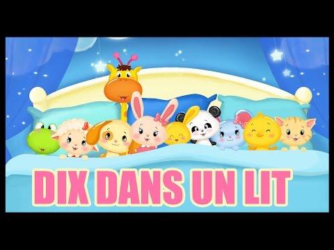 Dix dans un lit en français - Comptine pour les enfants - Titounis
