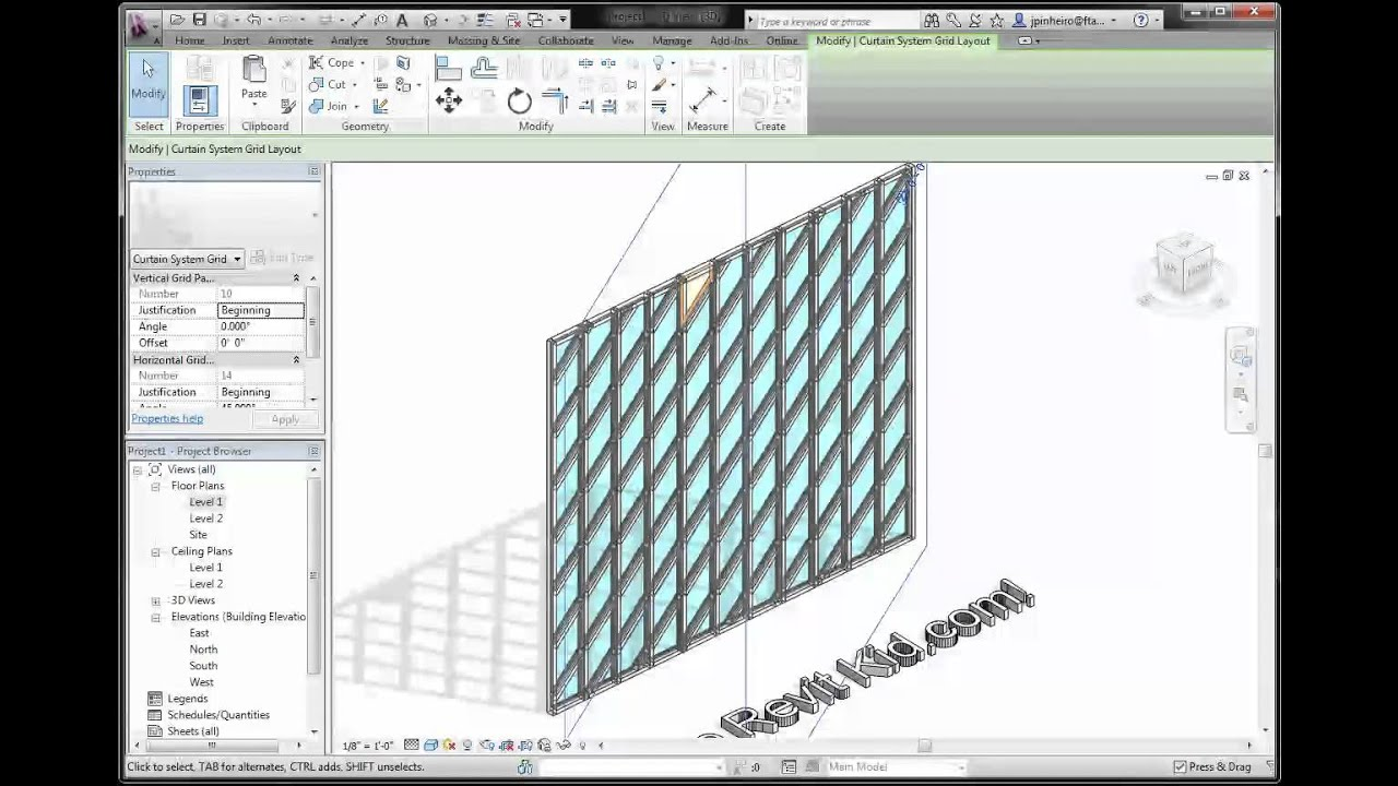 Revit Tutorial The Revit Kid Rotate Curtain Wall Grids