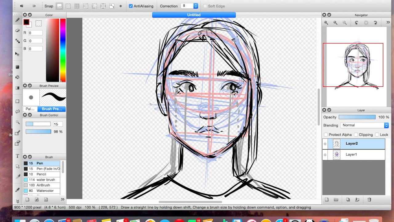 How To Draw A Semi Realistic Girl Front View Youtube