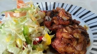 Amazing Coca-cola Jerk Chicken Bite New Years Eve Recipe Served With Salad