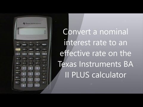 Converting nominal interest rate to effective interest rate on the TI II Plus calculator - YouTube