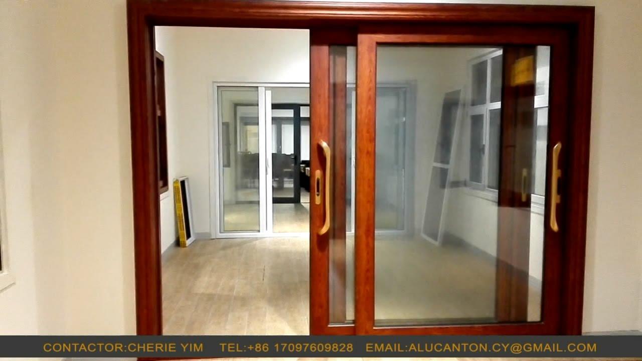 Wood grain finish aluminum sliding door - Sliding windows ...
