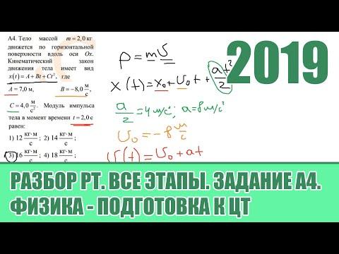 Задание А4. Все этапы РТ 2019 по Физике. Подготовка к ЦТ.