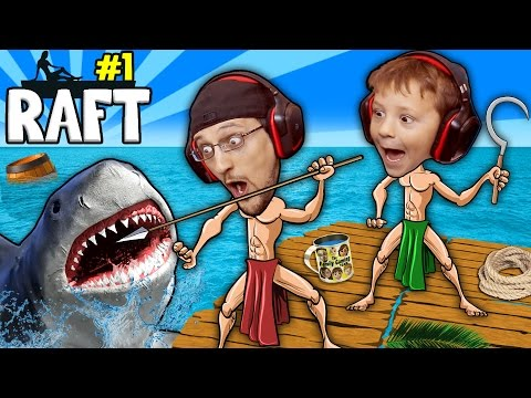 Thumbnail: SHARK SONG on RAFT! Survival Game w/ Baby Shawn in Danger! 1st Night Minecraft? FGTEEV Gameplay/Skit
