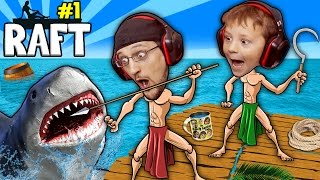 SHARK SONG on RAFT! Survival Game w/ Baby Shawn in Danger! 1st Night Minecraft? FGTEEV Gameplay/Skit thumbnail