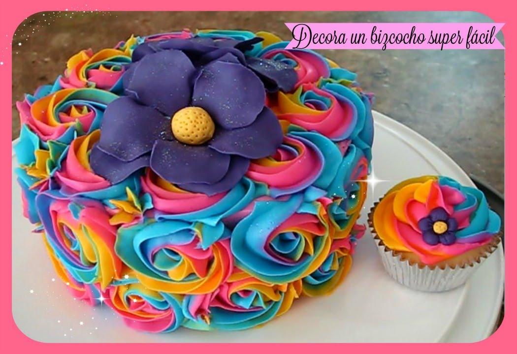 Como Decorar Un Bizcocho (pastel) Y Cupcakes Fácil Con