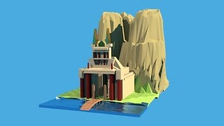 Blender 3- D 2. 77 Speed modeling of Low Poly Mountain Temple