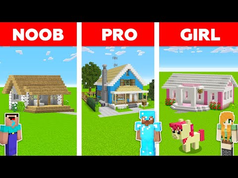 Minecraft NOOB vs PRO vs GIRL: HOUSE BUILD CHALLENGE in Minecraft / Animation