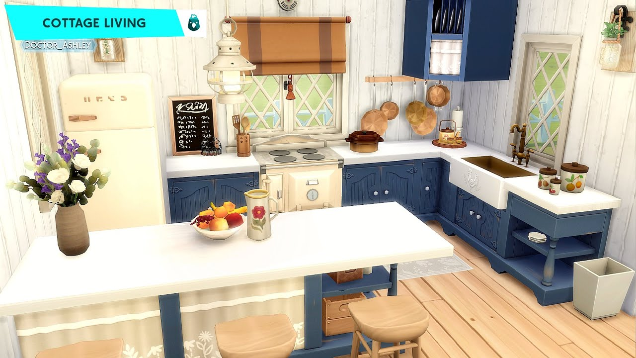 Cottage Living Kitchen CONVERTED BARN: The Sims 4 Room Building (No CC) #Shorts