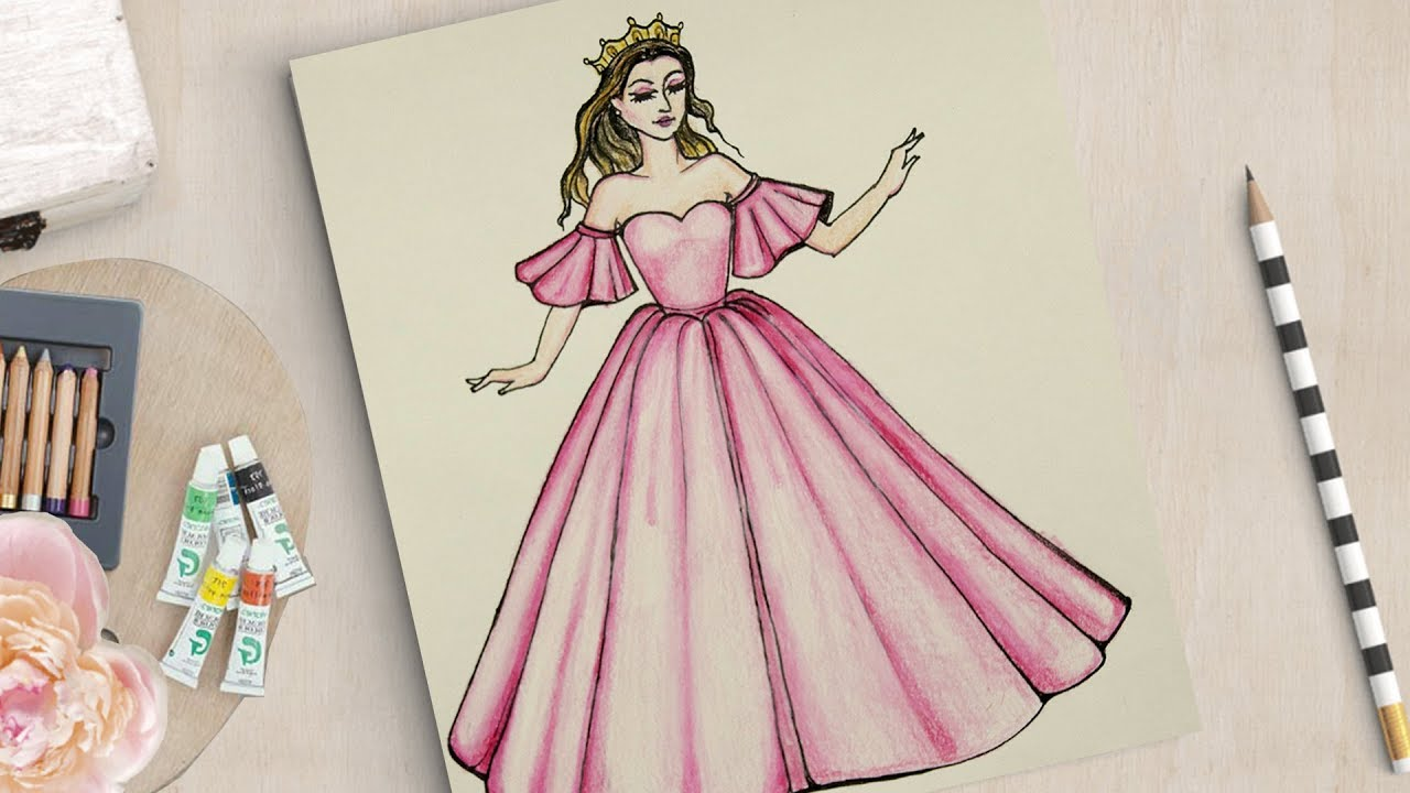 How To Draw A Girl With Beautiful Dress تعلم كيف ترسم فستان Youtube