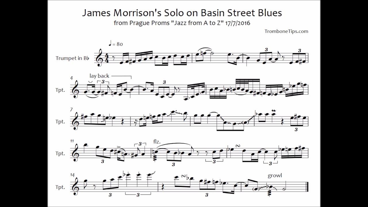 James Morrison's Trumpet Solo on Basin Street Blues (Transcription)