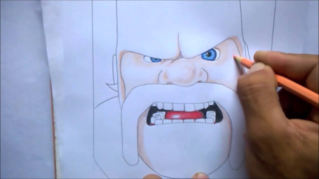 Como Pintar O Barbaro Clash Of Clans Youtube