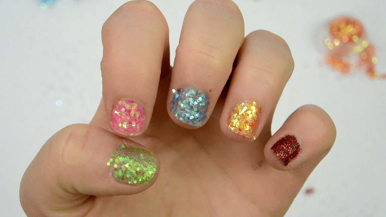 Learn Colors Nail Arts Glitter Nail Polish Teach Colours to Kids ...