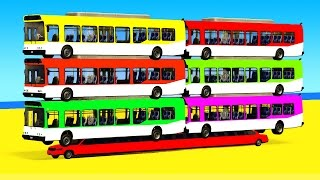 Color Bus on Long Car and Spiderman Cars Cartoon 3D with Superheroes for Kids and Nursery Rhymes