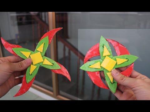 Как сделать сюрикен бумаги 4 филиалов | Ниндзя звезды 4