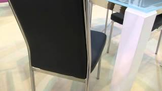 Venti Chrome And Frosted Glass Dining Room Table Set From Www.zfurniture.co.uk