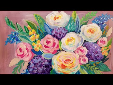Easy floral impressionist acrylic painting tutorial live for Simple flower paintings for beginners