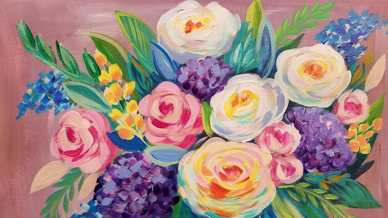 Easy Fl Impressionist Acrylic Painting Tutorial Live Beginner Step By Lesson