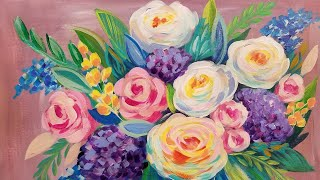 Easy Floral Impressionist Acrylic Painting Tutorial LIVE Beginner Step by Step Lesson