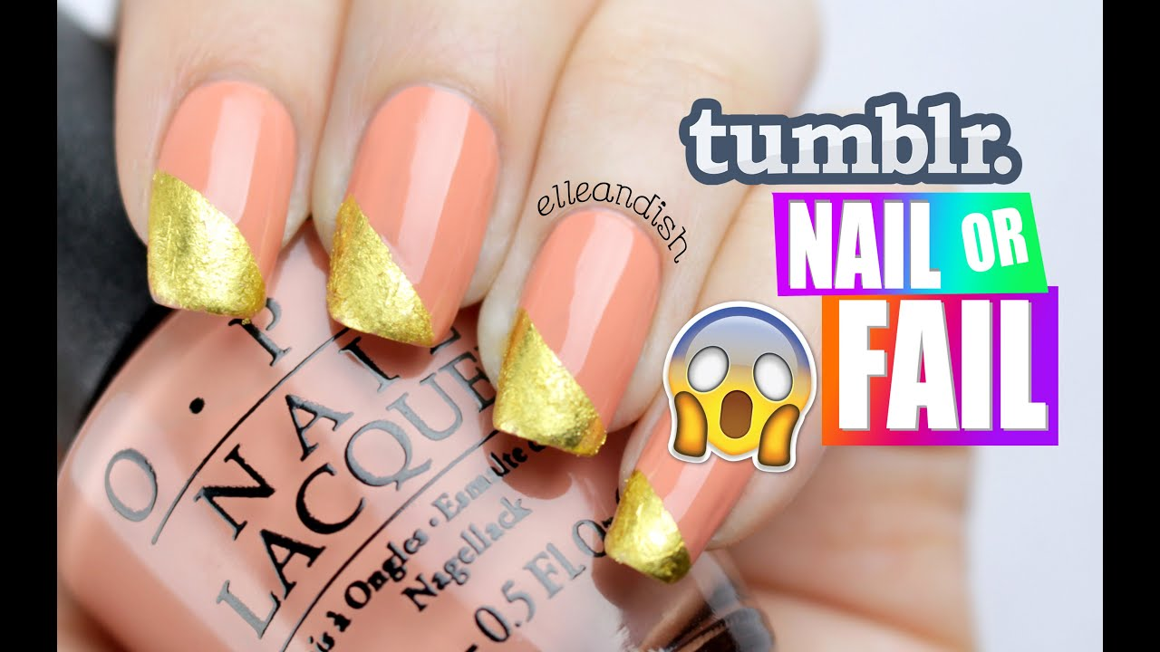 △ tumblr NAIL or FAIL: DIY GOLD LEAF NAILS △ - YouTube