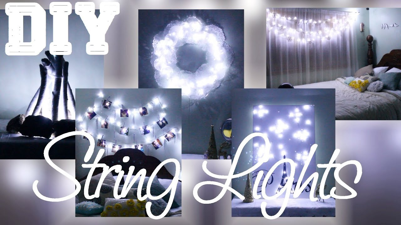 5 diys with string lights youtube for Things to do with mini canvases