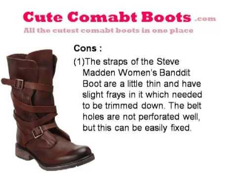 Steve Madden Womens Banddit Combat Boots