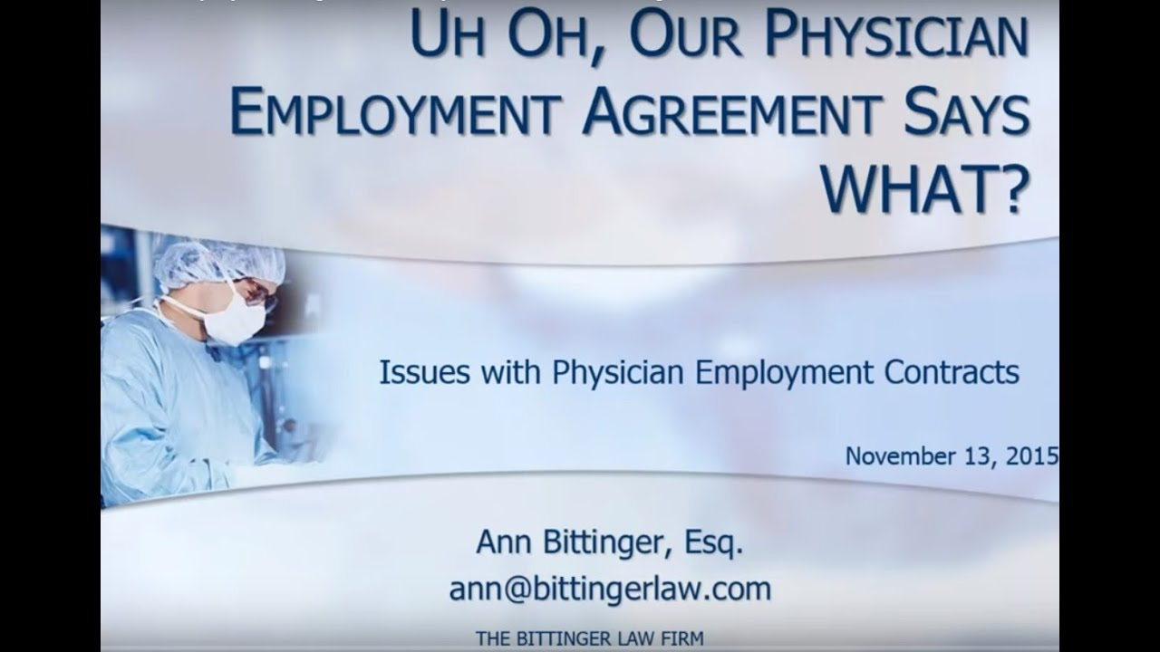 Oh Law Firm >> Uh Oh Our Physician Employment Agreement Says What The Bittinger Law Firm