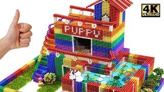 Building Puppy's Dog House and Fish Pond From Magnetic Balls (Satisfying) | Magnet World Series
