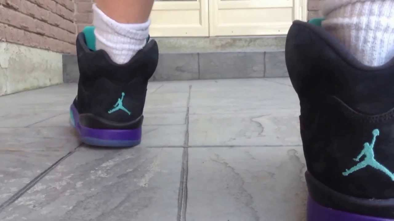 [HD] Jordan Black Grape 5 on feet (Jordan 5 Aquas on foot ...Jordan Grape 5 Black On Feet