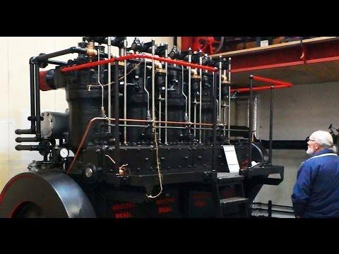 "Opstart, årg. 1951, hollandsk skibsdiesel, ""Industrie"" - Motorsamlingen Djursland."