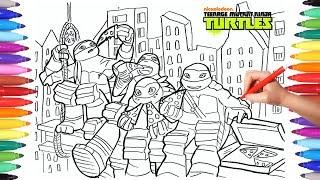 TEENAGE MUTANT NINJA TURTLES TMNT Coloring Pages 2 | How to Draw Ninja Turtles Mickey Donnie Raphael