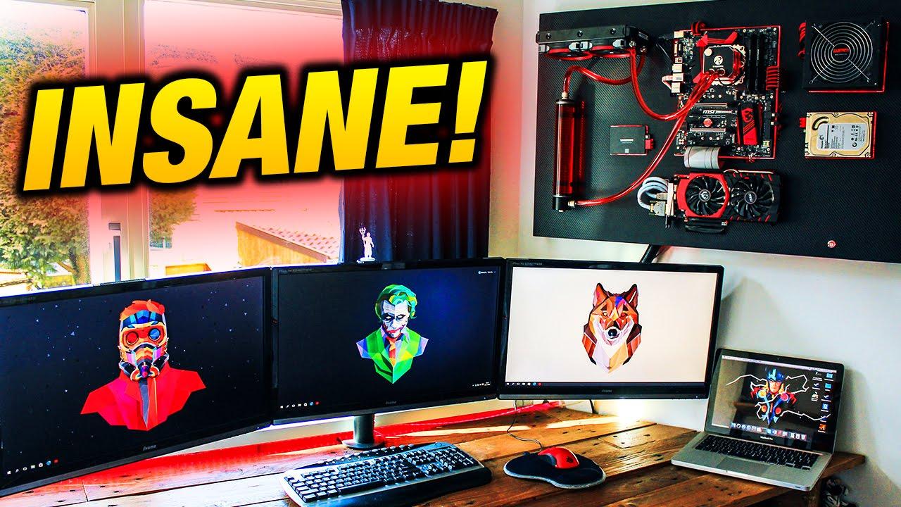 Badass Wall Mounted Gaming Pc Insane Wall Mounted Pc Setup
