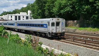 A Metro-North Local Rolls Into Dobbs Ferry on the Hudson Line with a Rake of Shoreliners