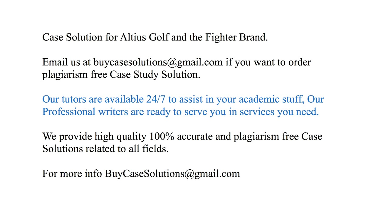 altius golf and the fighter brand