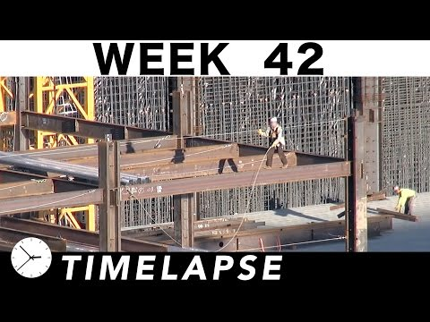 1-week construction time-lapse with 22 closeups: Week 42: Structural steel; all-day concrete pour