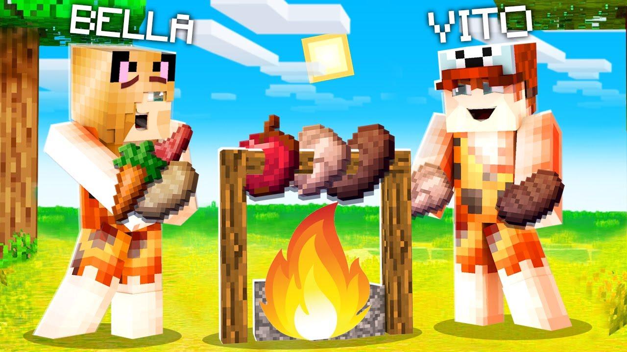 NASZE PIERWSZE POTRAWY - Minecraft Jaskiniowcy #2 | Vito i Bella