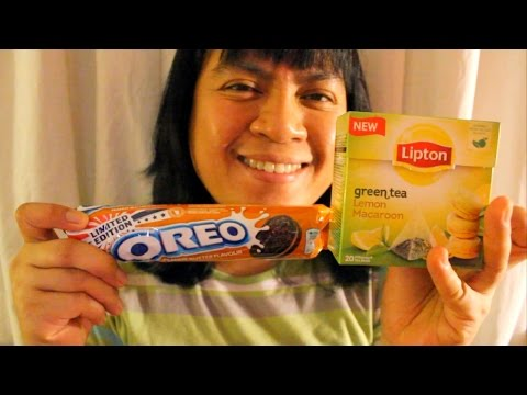 ASMR Lipton green tea with Lemon Macaroon and Oreo Peanut Butter