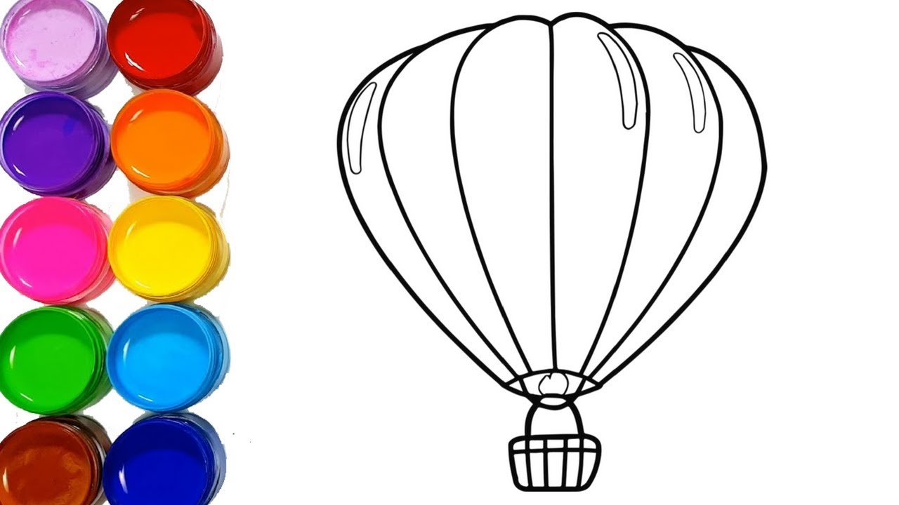 Parachute Drawing Very Easy Step by Step for kids, Hot Air ...