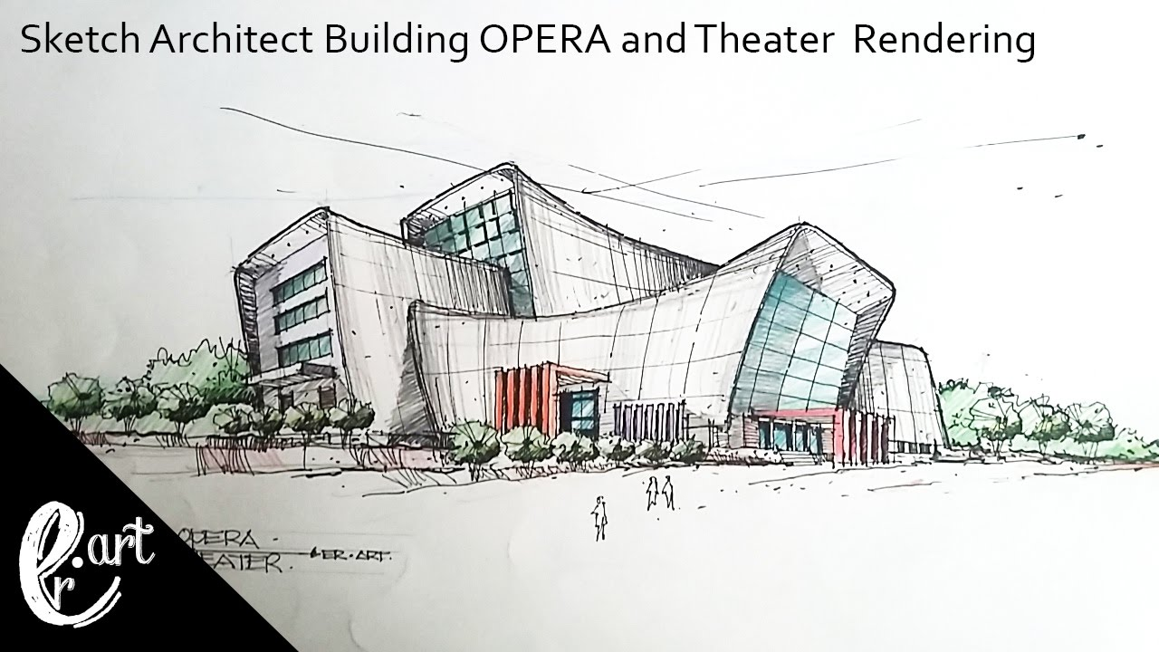 Sketch Architect Building Opera And Theater Rendering Manual In The Style Of Zaha Hadid Youtube