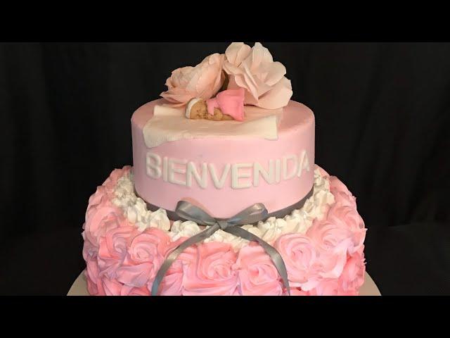 Baby shower cake it's a girl ( pastel para baby shower de Niña)