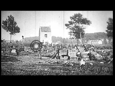 German soldiers fire artillery on the front in Antwerp Belgium during World War 1...HD Stock Footage