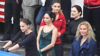 Алина Загитова и Евгения Медведева разминка на контрольных прокатах 2019 Лужники